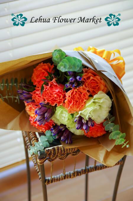 バラ「ブラッドオレンジ」の花束